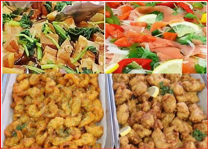 豚角煮と大根煮(日替わり)・スモークサーモン(日替わり)・エビチリ/鶏のから揚げ