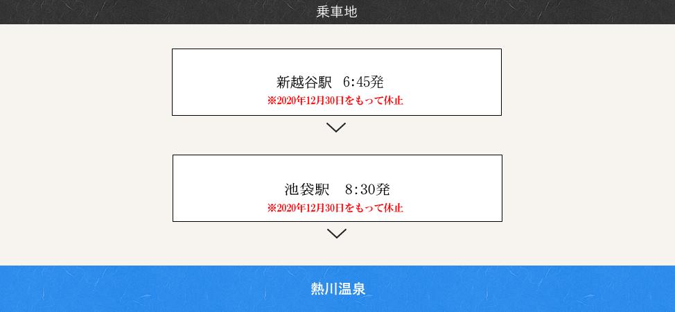 乗車地:新越谷駅、西船橋駅、池袋駅、上野駅、海老名駅、横浜駅