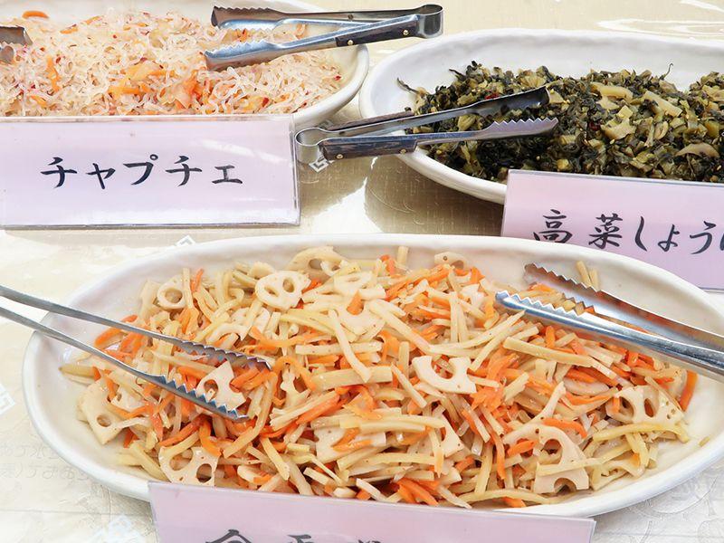 チャプチェ、高菜しょうゆ漬、金平蓮根入り