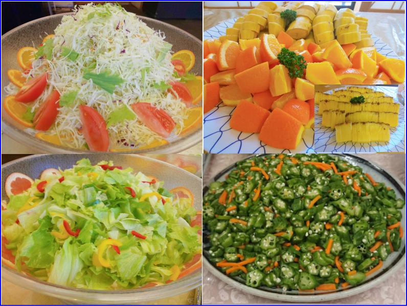 生野菜(二種類)/季節の果物(二種類)/おくら