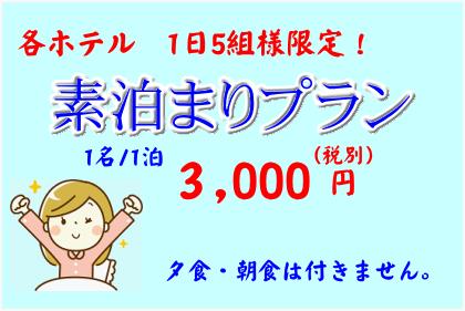 「素泊まり」プラン♪【各ホテル1日5組限定】