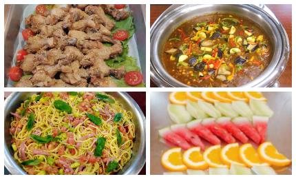 手羽元のさっぱり煮/野菜カレー/夏野菜とベーコンのパスタ/フルーツ